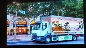 Camion électrique Renault Trucks 16 tonnes utilisé pour Guerlain